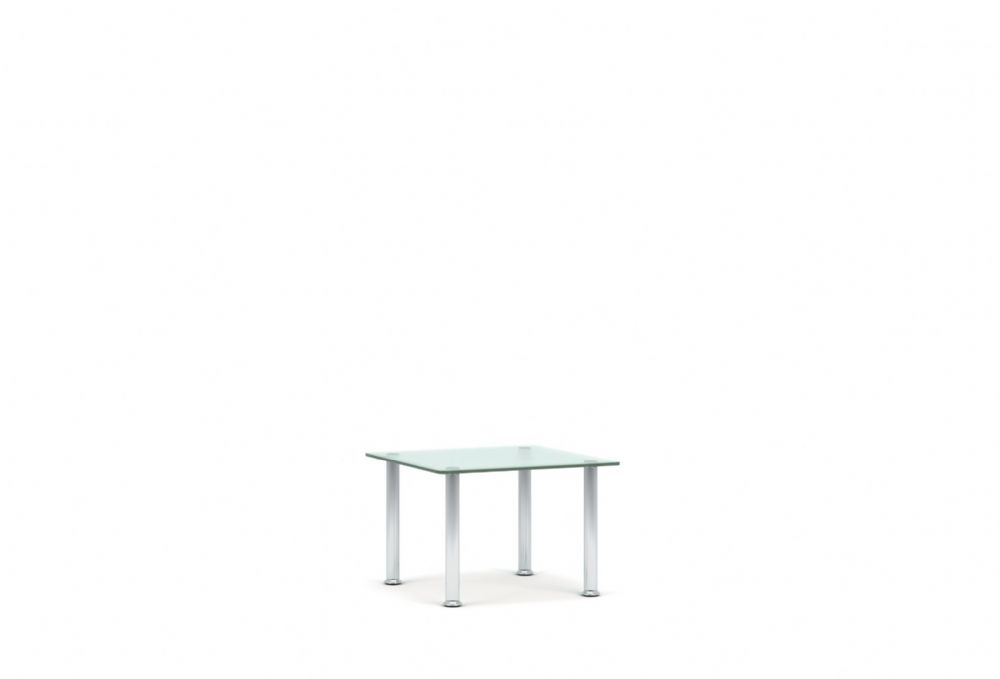 Pledge Koko Glass Table With 4 Chrome Legs 500mm x 500mm